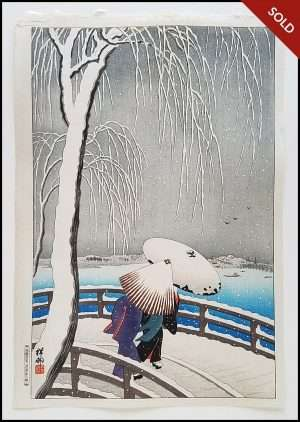 Ohara Koson - Snow On Willow Bridge (1927)