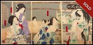Yoshitoshi - Summer, Women Bathing At The Danshoro The Flower Manshon In Ne (1883)