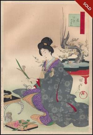 Chikanobu - Flowers Ikebana Snow Moon Flower (1890)