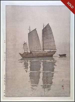 Hiroshi Yoshida - Sailing Boats Mist (1926)