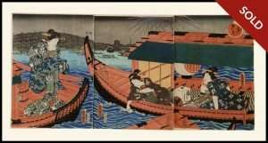 Kunisada - Beauty in the Late Afternoon, Triptych (1847)