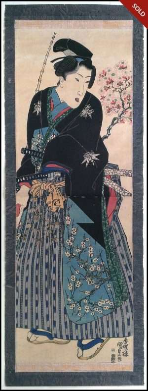 Kunisada - Samurai Warrior in Spring (1830-40)