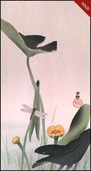 Ohara Koson - Dragonfly and Lotus (1930)