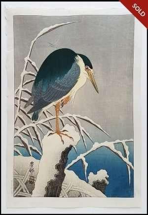 Ohara Koson - Heron on Snowy Branch (1929)
