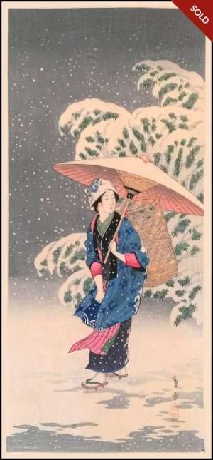 Shotei - Spring Snow: Snow in Twilight (1930s)