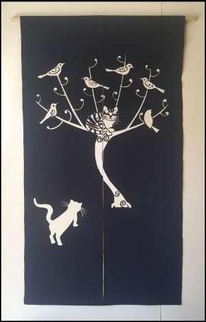 Nobuyuki Takai - Cat in Tree Noren (2015)