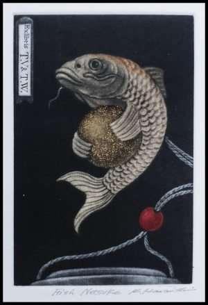 Katsunori Hamanishi - Fish Netsuke, exlibris (2017)