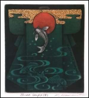 Katsunori Hamanishi - Three Carps B, Exlibris