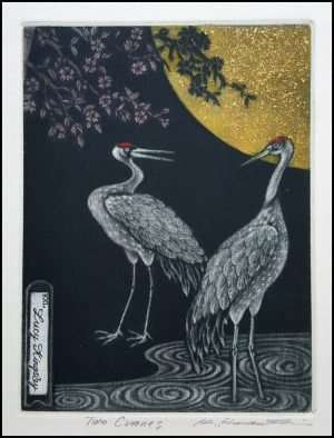 Katsunori Hamanishi - Two Cranes, Exlibris