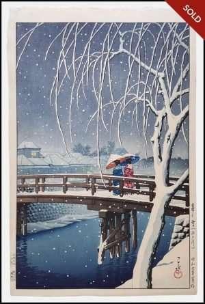 Hasui - Evening Snow at Edo River (1932)