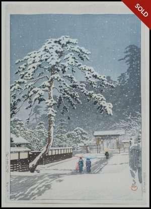 Hasui - Honmon Temple, Ikegami (1931)