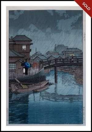 Hasui - Rainy Season at Ryoshimachi Shinagawa (1933)