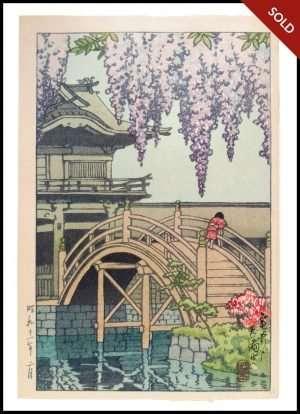 Hasui - Wisteria Blossoms at Kameido Shrine, Tokyo (1936)