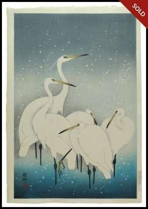 Ohara Koson -Egrets in Snow (1930)